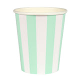 Mint Stripe Cups
