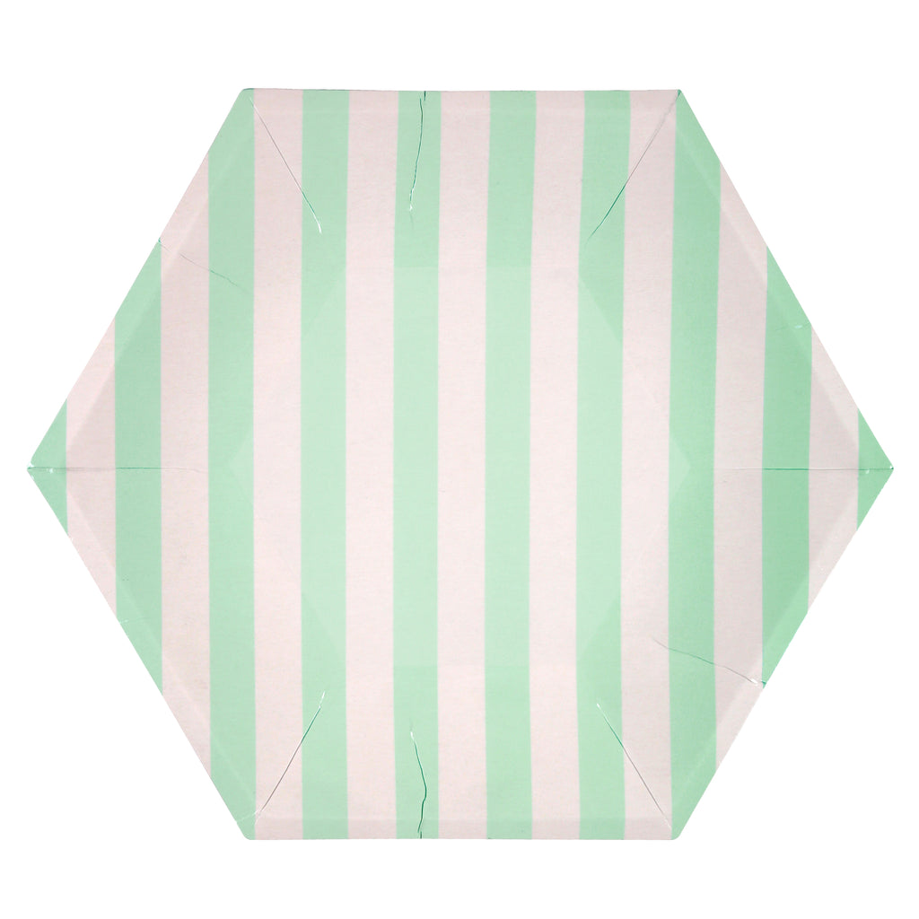 Mint Stripe Large Plates
