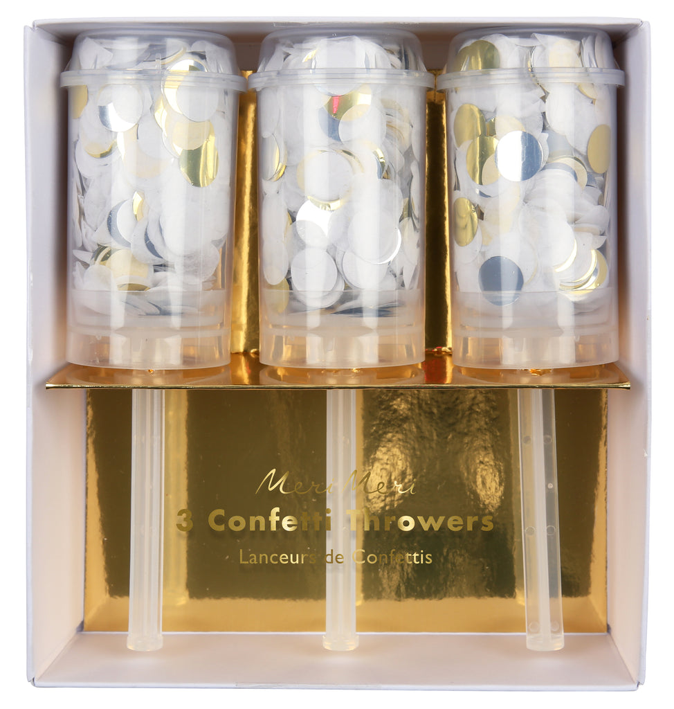 Gold, Silver & White Mini Confetti Throwers