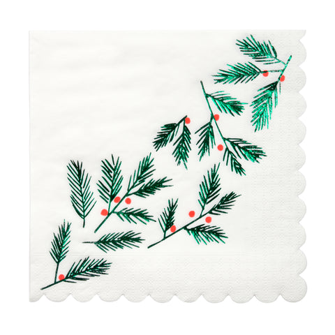 Festive Leaves & Berries Large Napkins