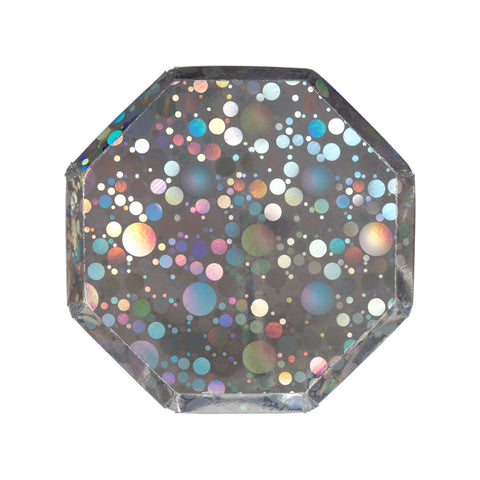 Holographic Silver Bubble Side Plates