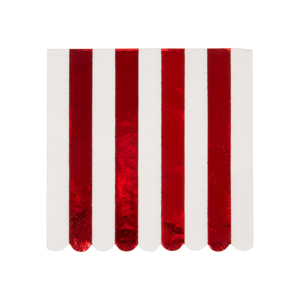 Shiny Red Stripe Small Napkins