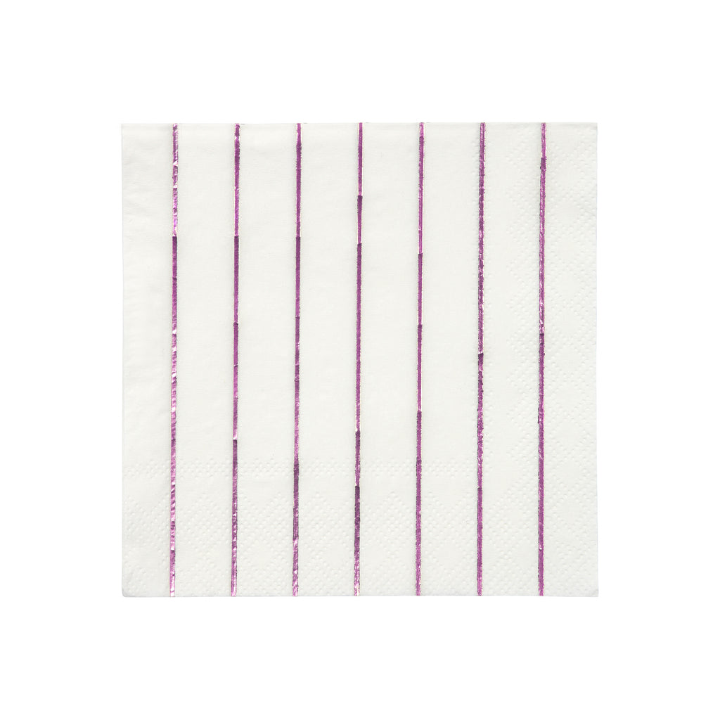 Pink Foil Stripe Small Napkins