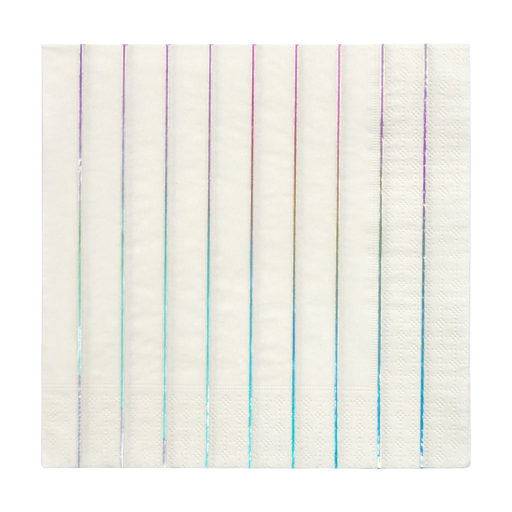 Silver Holographic Stripe Large Napkins
