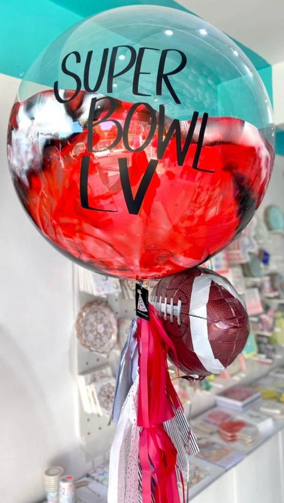 Bouquet Super Bowl LV Burbuja Gigante Pintada + American Football Balloon