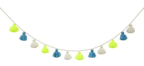 Wool Tassel Garland Blue