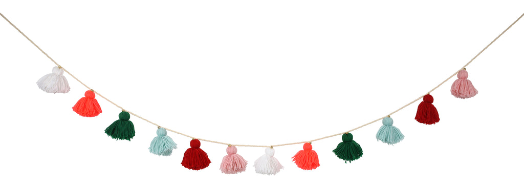 Wool Tassel Christmas Garland