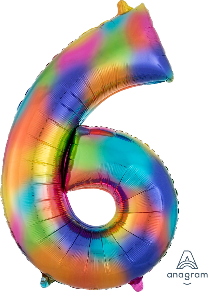 "Giant Rainbow Splash 36"" Numbers balloons"
