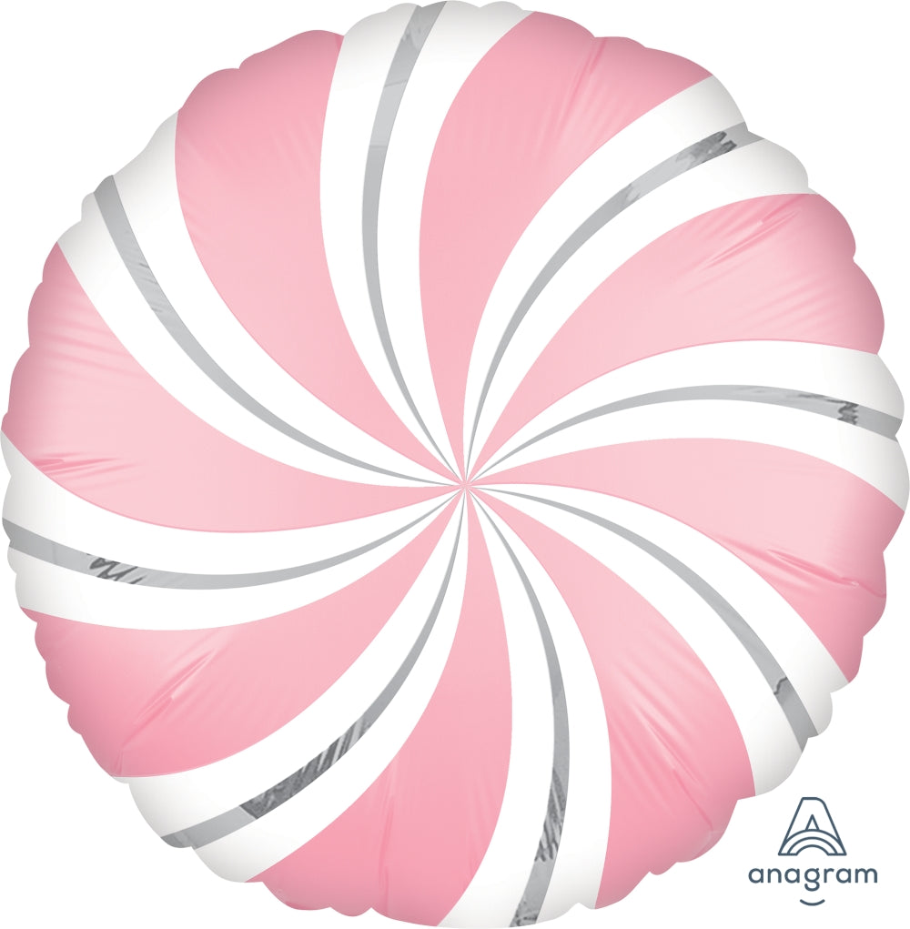 Satin Pink Candy Swirls Balloon