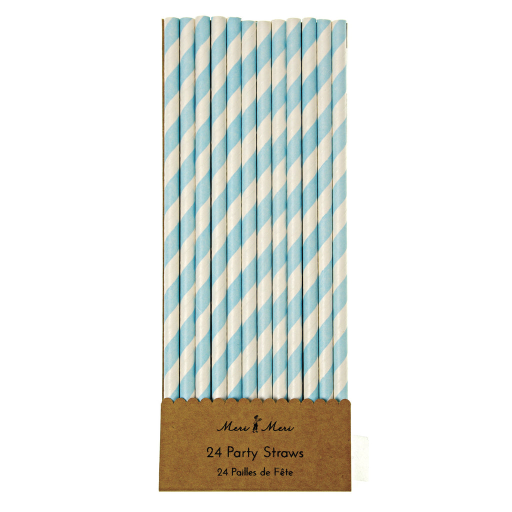 Blue & White Paper Straws