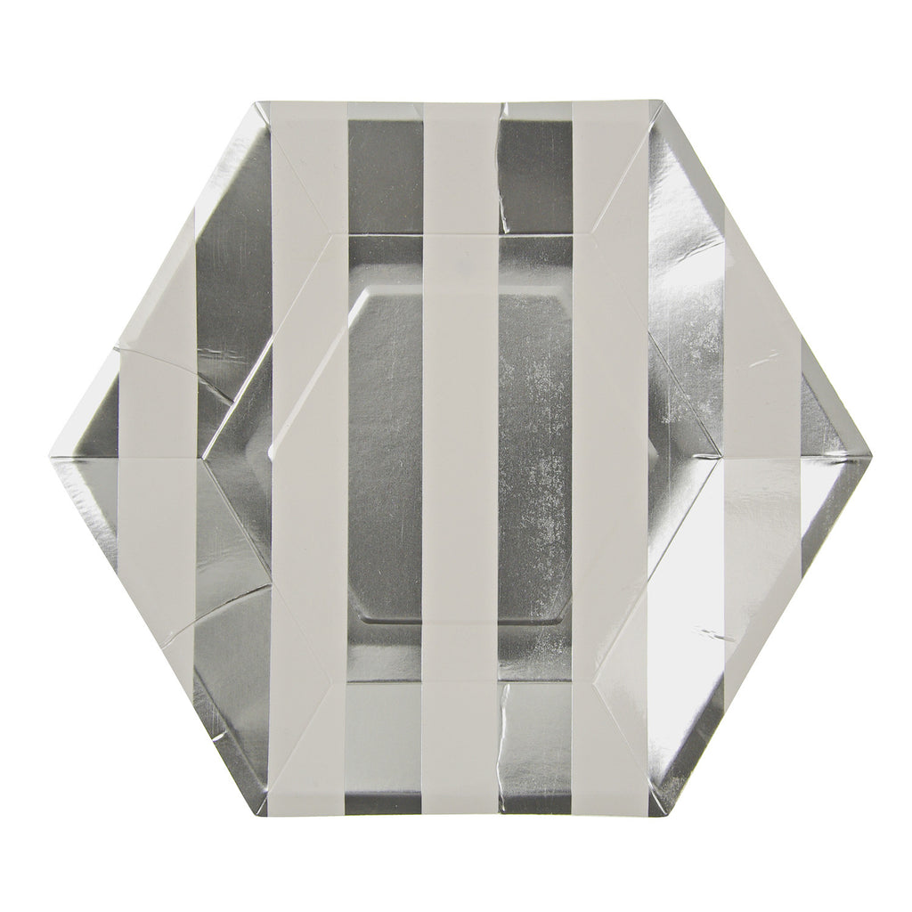 Silver Stripes Large Plates