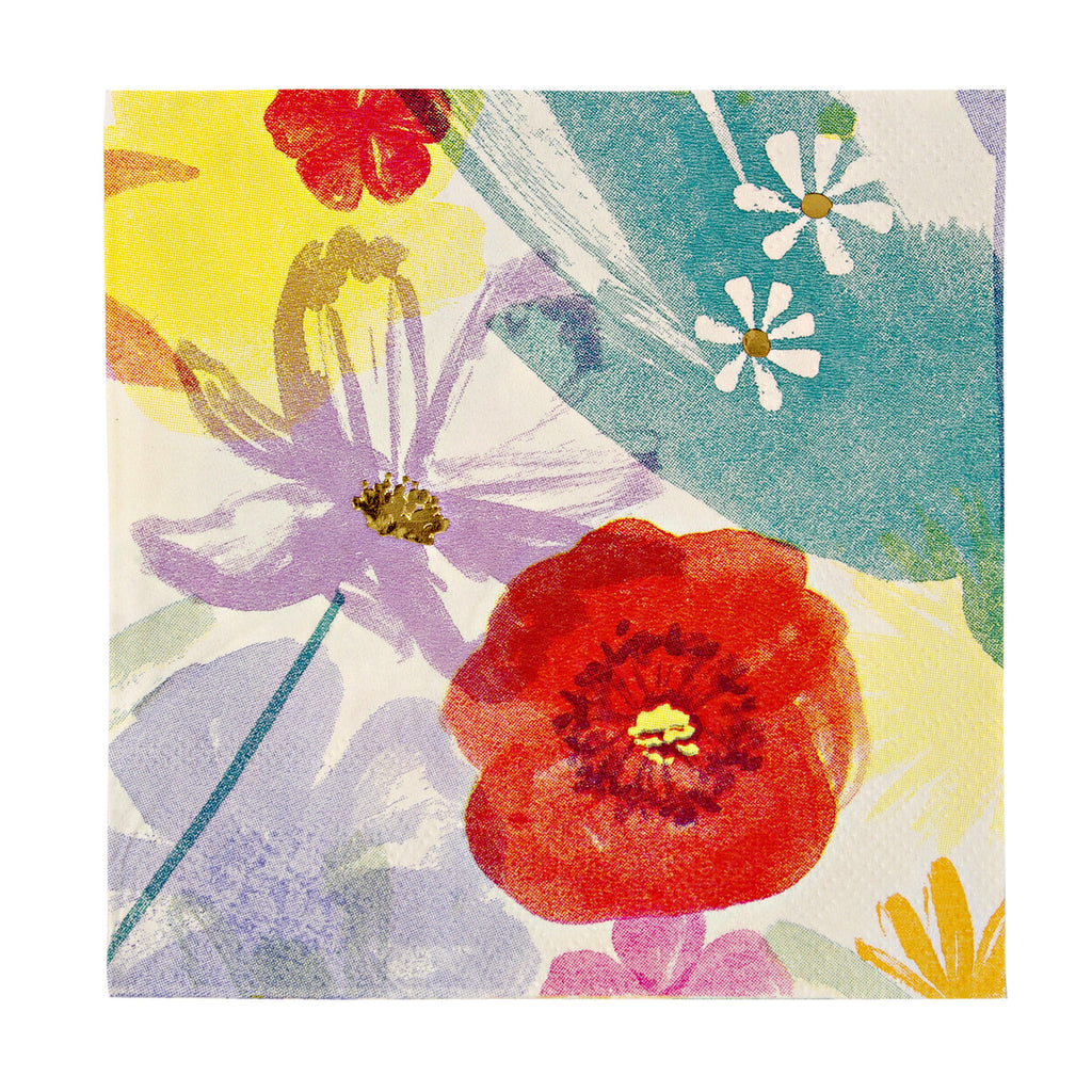 Painted Flowers Small Napkins