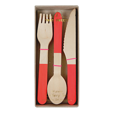 Red Wooden Cutlery
