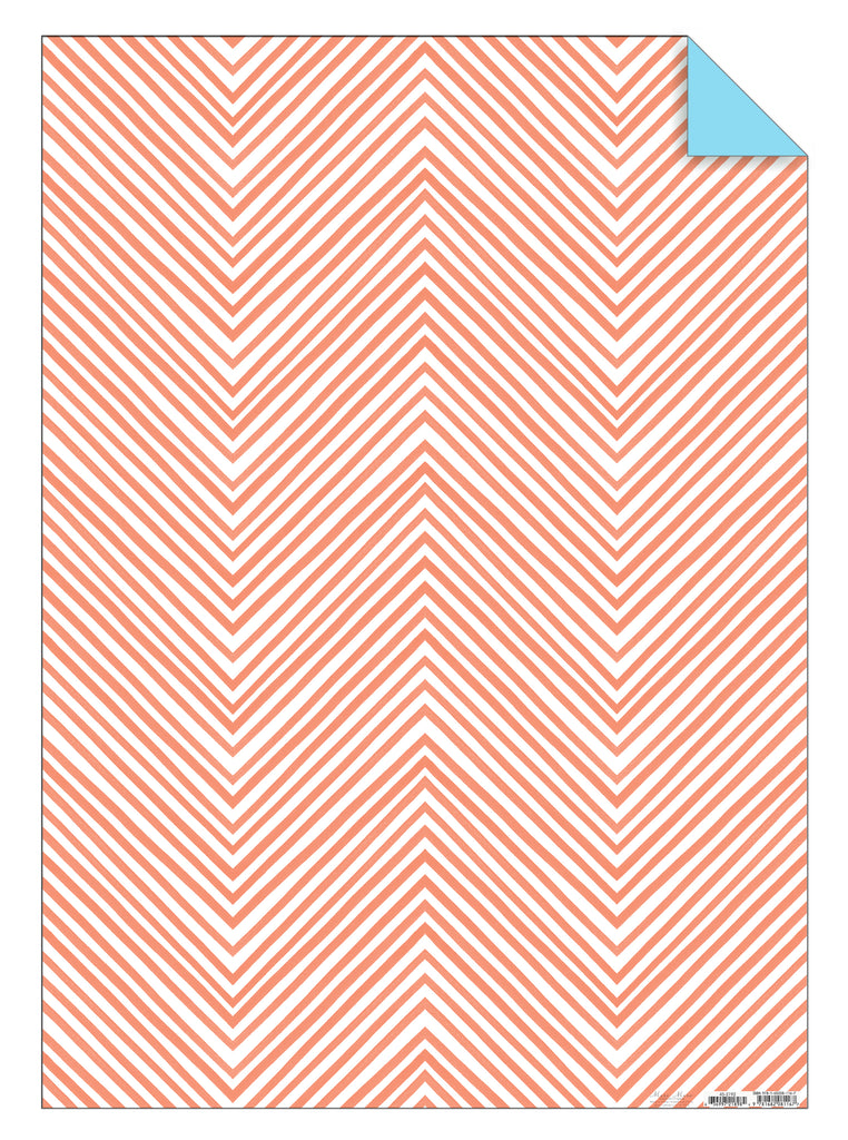 Coral Chevron Gift Wrap Sheet