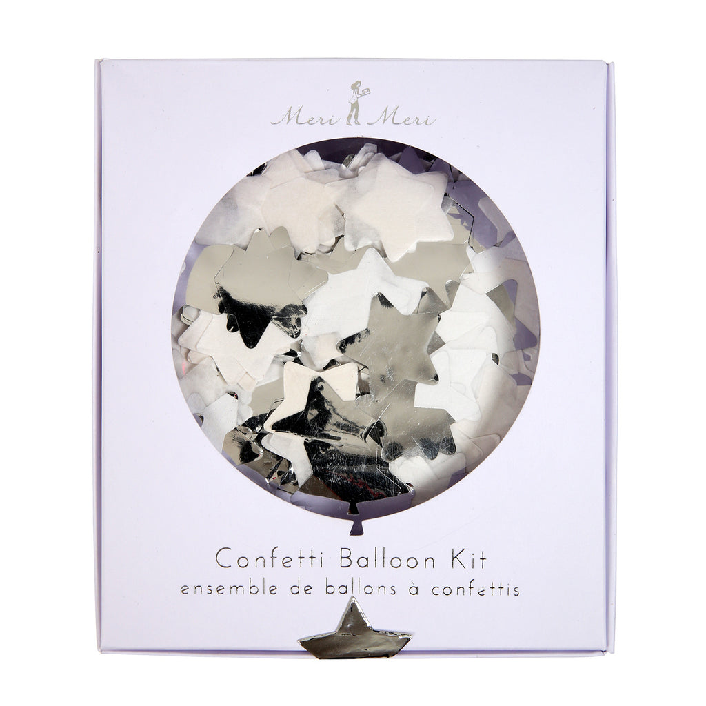 Silver Star Confetti Balloon kit (8 pack)