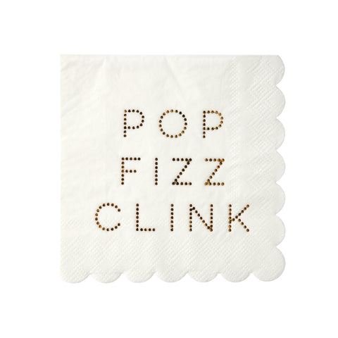 Gold Pop Fizz Clink Small Napkins