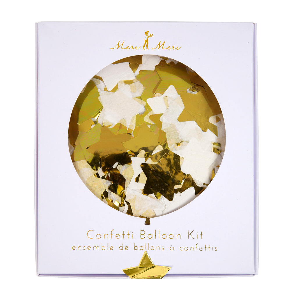 Gold Star Confetti Balloon kit (8 pack)
