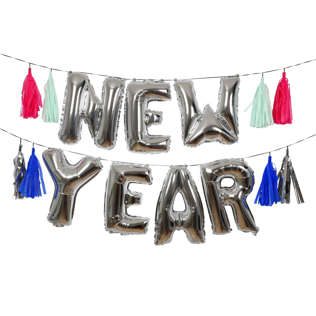 New Year Silver Balloon Garland