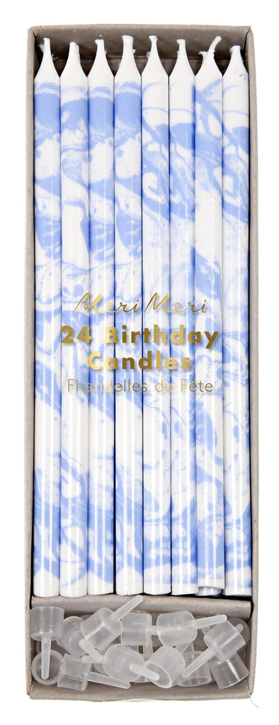 Blue Marble Party Candles