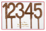 Gold Glitter Numbers Acrylic Topper