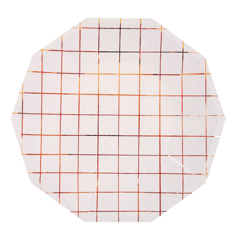 Rose gold grid Large Plates