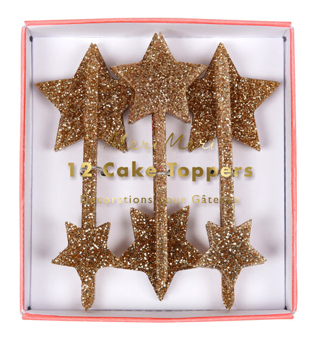 Gold Glitter Stars Acrylic Toppers