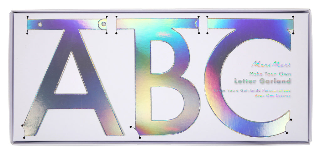Holographic Silver Alphabet Garland Kit