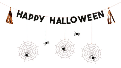 Happy Halloween Cobwebs and Spiders Garland