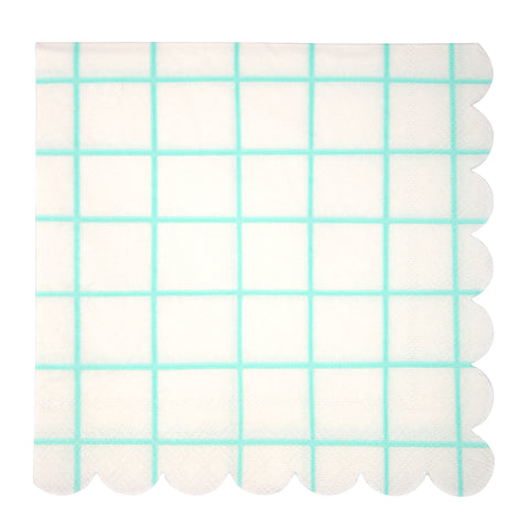 Mint grid Large Napkins