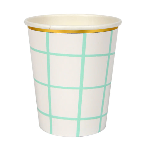 Mint grid Party Cups