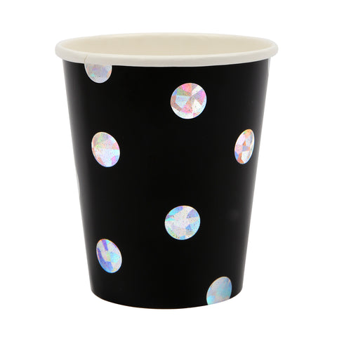 Black & Holographic Pop Fizz Clink Party Cups