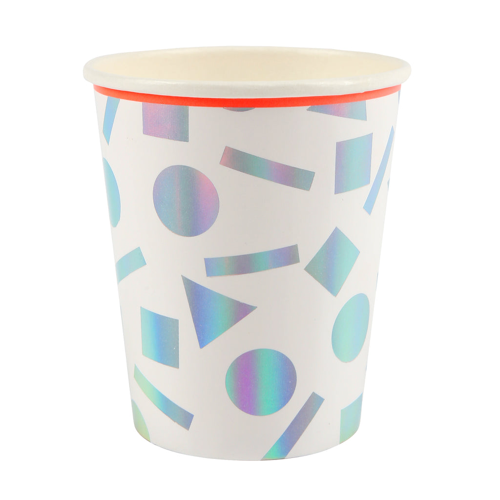 Silver Holographic Confetti Party Cups