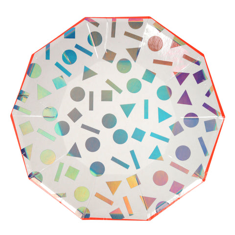 Silver Holographic Confetti Large Plates