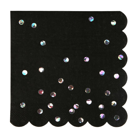 Black & Holographic Pop Fizz Clink Large Napkins