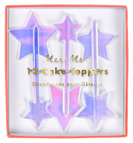 Iridescent Stars Acrylic Toppers
