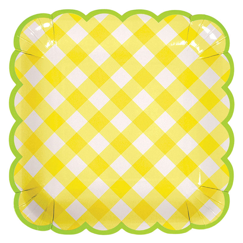Yellow Gingham Large Plates