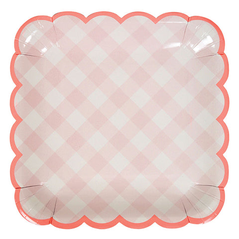 Pink Gingham Large Plates