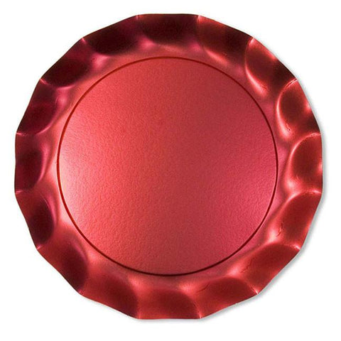 Satin Red Petalo Charger Plates