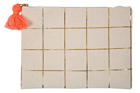 Gold Grid Pouch