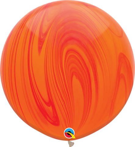 Red Orange Marble Latex balloon 36""