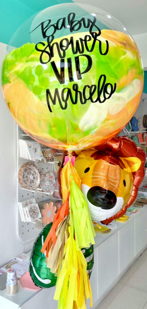 Bouquet Burbuja Gigante Pintada + 3D Lion + Tropical Leaf Balloon
