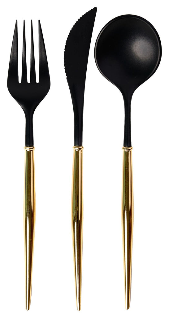 Black and Gold Bella 24 pieces Assorted Flatware