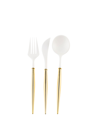 White and Gold Bella 24 pieces Assorted Flatware