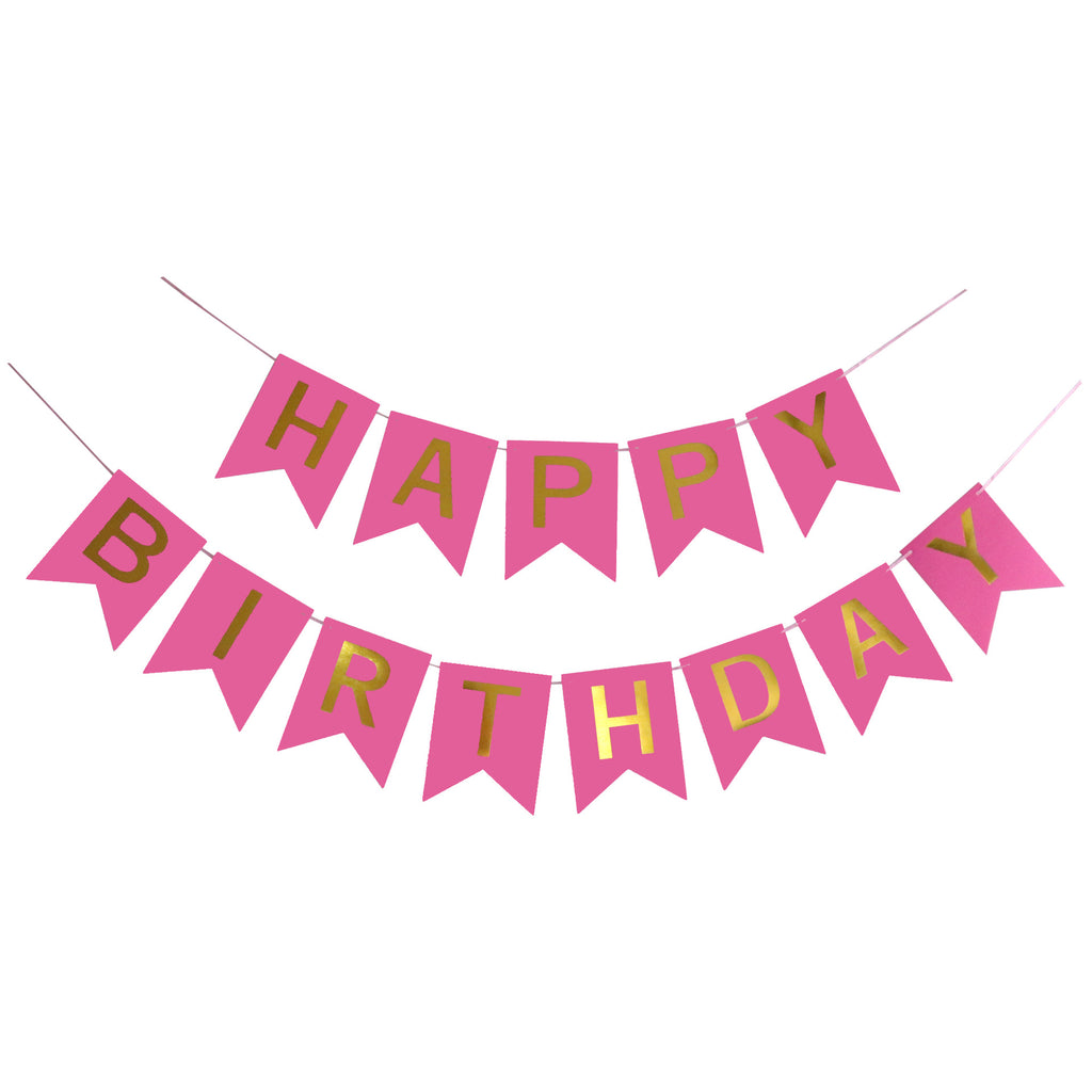 Happy Birthday Pink Flags Garland