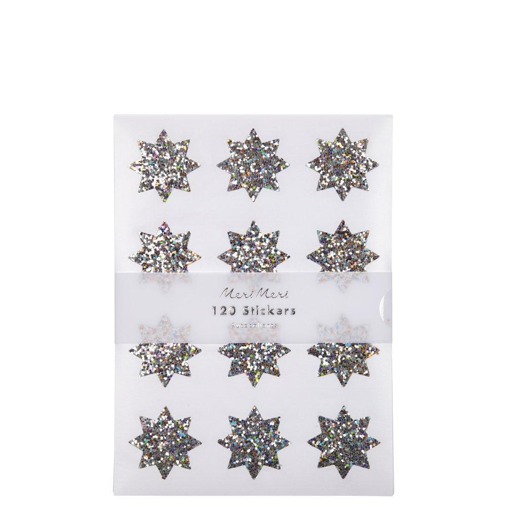 Silver Sparkle Star Sticker Sheets