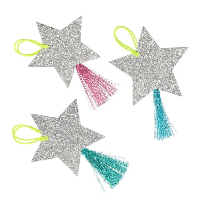 Silver sparkle Star Gift Tags