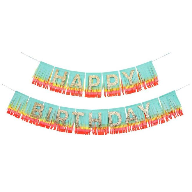 Rainbow Happy Birthday Fringe Garland