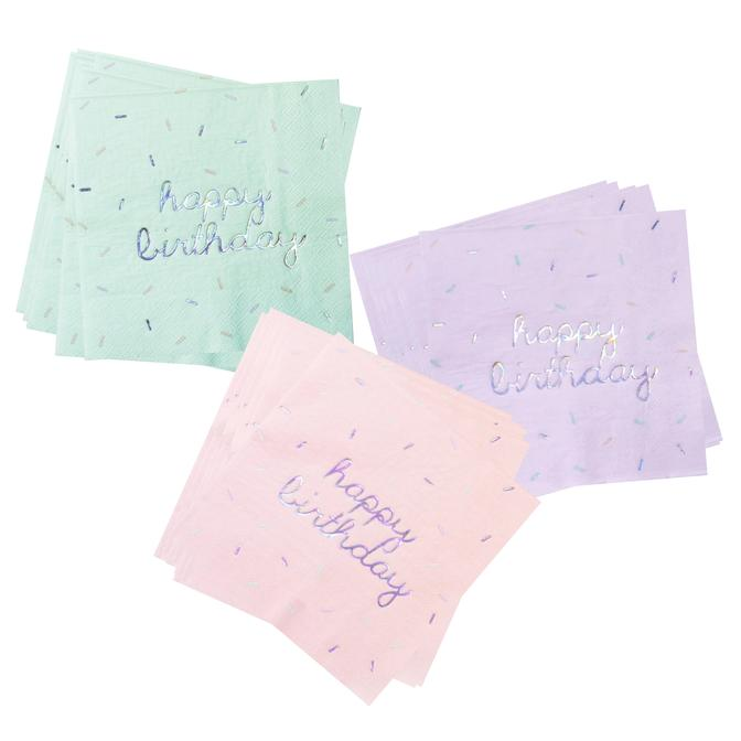 Pastel Sprinkles Happy Birthday Large Napkins