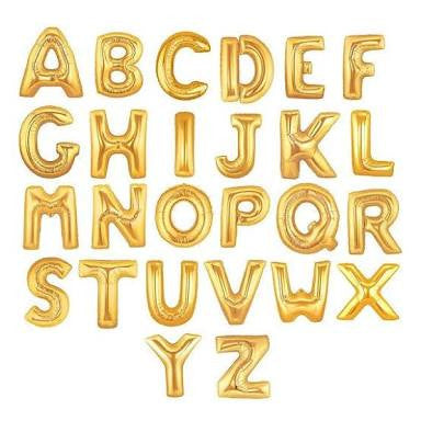 "Giant Gold 36"" Letters and Numbers balloons"