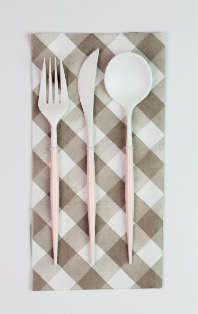 White and Blush 12-pack Assorted Plastic Cutlery